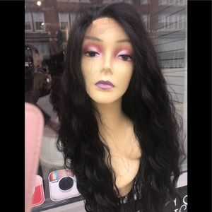 Long black wavy wig 13X6 freepart wig 2020